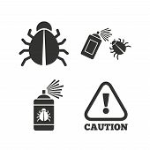 Bug disinfection icons. Caution attention symbol. Insect fumigation spray sign. Flat icons on white. Vector poster