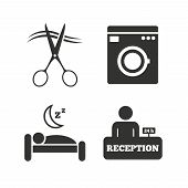 Hotel services icons. Washing machine or laundry sign. Hairdresser or barbershop symbol. Reception registration table. Quiet sleep. Flat icons on white. Vector poster