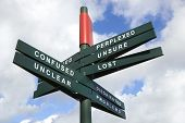 Lost and Confused Signpost against cloudy sky - clipping path for isolated the panels poster