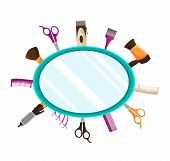 Vector illustration of flat background with Tools for Hairdressing salon or Barbershop such as comb, hairclipper, hairdryer, scissors poster