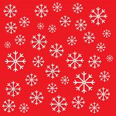 snowflakes on a red background. presented in vibrant colour so you can set a lower opacity for tinted and pastel versions. poster