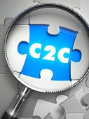 C2C - Client to Consumer - Puzzle with Missing Piece through Loupe. 3d Illustration with Selective Focus. poster