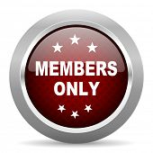 members only red glossy web icon poster
