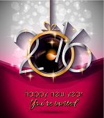 2016 Christmas and Happy New Year Party flyer. Complete layout with space for text for your dinner invitation, xmas parties or new year's eve party flyer. poster
