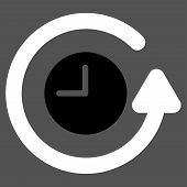 Restore Clock vector icon. Style is bicolor flat symbol, black and white colors, rounded angles, gray background. poster