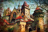 castle from fairy tale - medieval Kreuzenstein in Austria poster