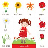 Illustration of printable flash card for flowers and little girl smelling flower poster