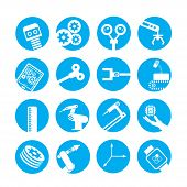 automated robot icons, industry icons in blue circle buttons poster
