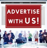 Advertise With Us Advertisement Announcement Commercial Concept poster