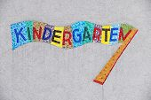 kindergarten colorful sign, symbol for childcare and child-friendliness poster