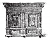 Dutch furniture carved wooden seventeenth century, vintage engraved illustration. Industrial encyclopedia E.-O. Lami - 1875. poster