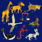 Constellations of the solar system. Set of constellations signs of giraffe, lion, libra, aries, capricorn, swan, scorpio, rabbit, whale. Flat style design. Vector illustration. poster