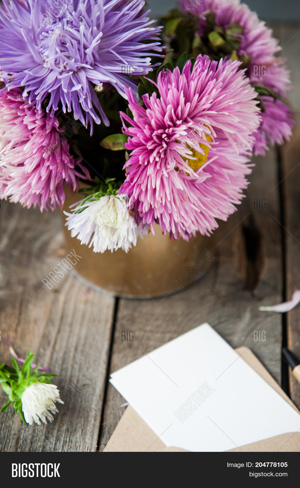 Multicolor aster image photo free trial bigstock multicolor aster flowers bouquet blank white greeting card and craft paper envelope on rustic woode izmirmasajfo