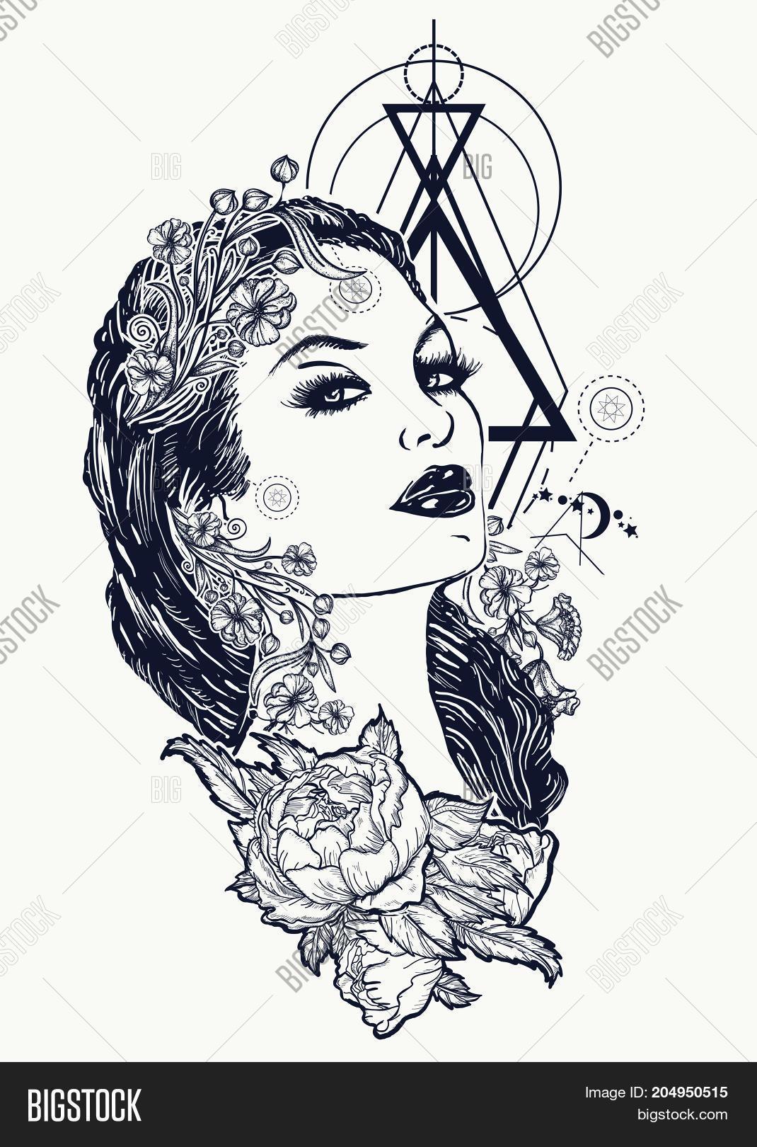 Art Nouveau Tattoo Nouveau: Art Nouveau Woman Vector & Photo (Free Trial)