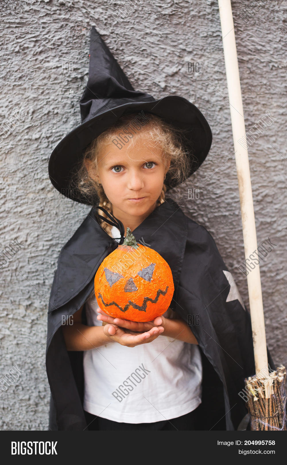Girl in Halloween costume having fun. A little girl in a witch costume is playing  sc 1 st  Bigstock & Girl Halloween Costume Having Fun. Image u0026 Photo | Bigstock