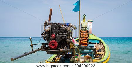Long Boat With Engine And Tropical Beach, Andaman Sea, Thailand