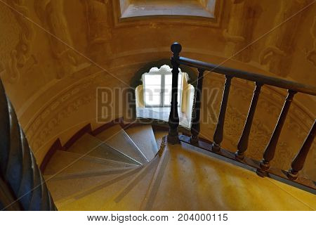 Sintra, Portugal - June 6, 2017: Spiral staircase in Pena National Palace Portugal UNESCO World Heritage site
