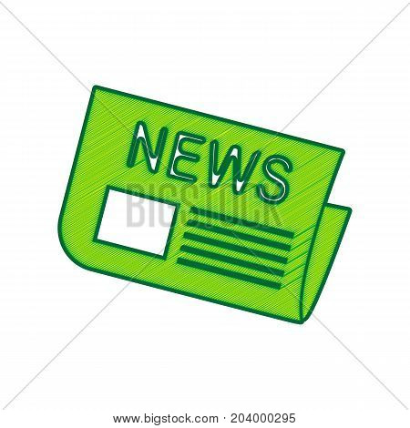 Newspaper sign. Vector. Lemon scribble icon on white background. Isolated