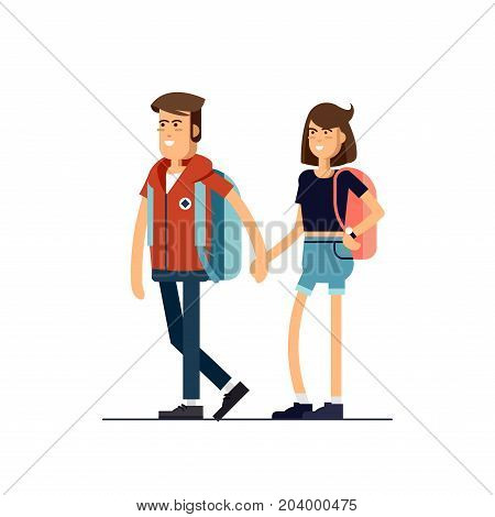 Vector flat illustration of young couple walking together.Brown-haired woman and handsome man character. Hipster character