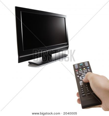 Tv Set And A Person With A Remote