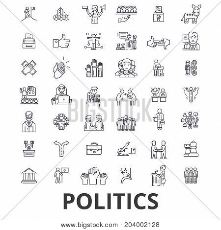 Politics, politician, vote, election, campaign, government, political party line icons. Editable strokes. Flat design vector illustration symbol concept. Linear signs isolated on white background