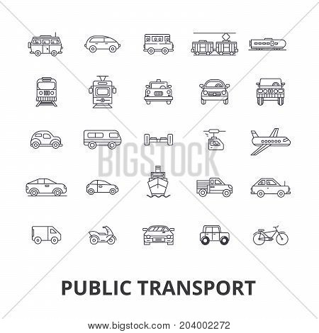 Public transport, transportation, subway, bus stop, traffic, taxi, city bus line icons. Editable strokes. Flat design vector illustration symbol concept. Linear signs isolated on white background
