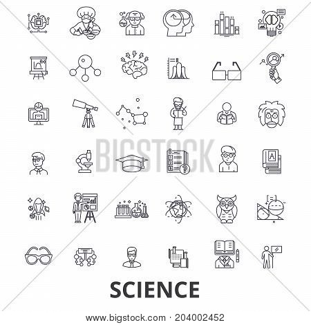 Science, technology, scientist, ab test, molecule, chemistry, dna, math, microscope line icons. Editable strokes. Flat design vector illustration symbol concept. Linear signs on white background