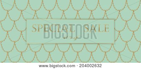 Golden Chain Sale Banner Template. Light Turquoise Gold Fish Scales. Promotional Commercial Offer In
