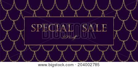Golden Chain Luxury Sale Banner Template. Dark Deep Purple Gold Fish Scales. Promotional Commercial