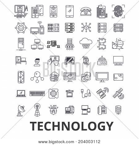 Technology, computer, it, innovation, science, information, cloud network line icons. Editable strokes. Flat design vector illustration symbol concept. Linear signs isolated on white background
