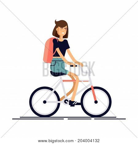 Happy girl riding a bicycle. Reactactivity. Vector illustration isolated on white background