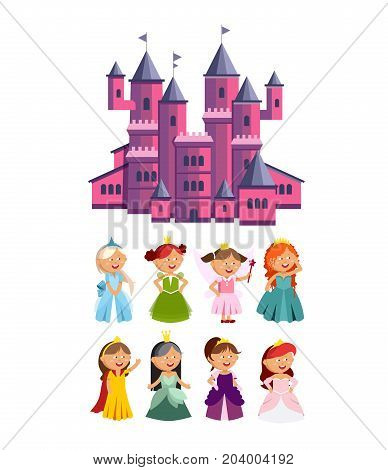 Princesses vector set cute collection of beautiful characters. Adorable elegance style little fairy girls. Vector illustration of a cute pink castle.