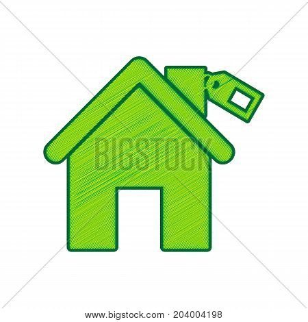 Home silhouette with tag. Vector. Lemon scribble icon on white background. Isolated