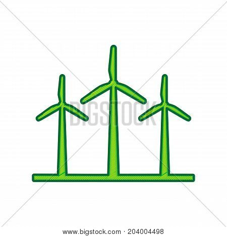 Wind turbines sign. Vector. Lemon scribble icon on white background. Isolated