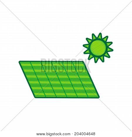 Solar energy panel. Eco trend concept sign. Vector. Lemon scribble icon on white background. Isolated