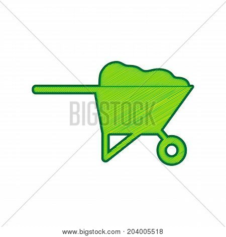 Garden wheelbarrow sign illustration. Vector. Lemon scribble icon on white background. Isolated