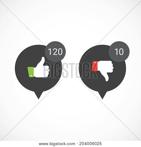 Vector like and dislike icons. Thumbs up and down.