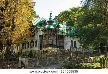 KISLOVODSK, RUSSIA - SEPTEMBER 09, 2017: The State Historical and Cultural Museum of Shalyapin Dacha. Fedor Ivanovich Shalyapin Russian opera and chamber singer Kislovodsk, Russia, since 1903.
