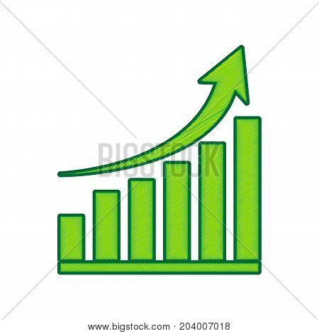 Growing graph sign. Vector. Lemon scribble icon on white background. Isolated