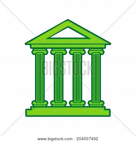 Historical building illustration. Vector. Lemon scribble icon on white background. Isolated