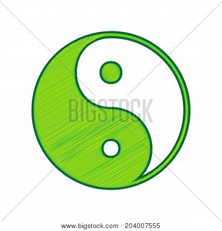Ying yang symbol of harmony and balance. Vector. Lemon scribble icon on white background. Isolated