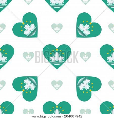 Macao Flag Patriotic Seamless Pattern. National Flag In The Shape Of Heart. Vector Illustration.