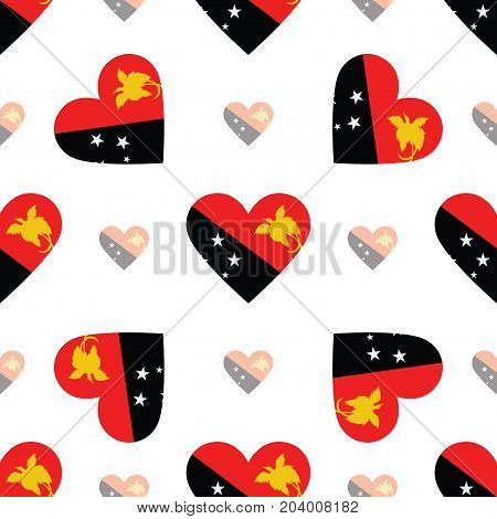 Papua New Guinea Flag Patriotic Seamless Pattern. National Flag In The Shape Of Heart. Vector Illust