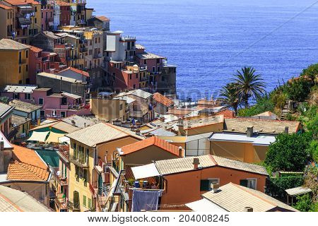 View of the colorful houses and roofs of ancient city Manarola Italy. Cinque Terre National Park Ligurian Riviera UNESCO World Heritage Site. Tourist sight. Top view