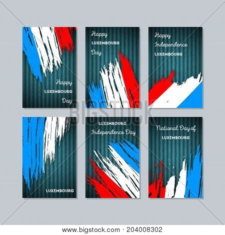 Luxembourg Patriotic Cards For National Day. Expressive Brush Stroke In National Flag Colors On Dark
