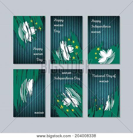 Macao Patriotic Cards For National Day. Expressive Brush Stroke In National Flag Colors On Dark Stri