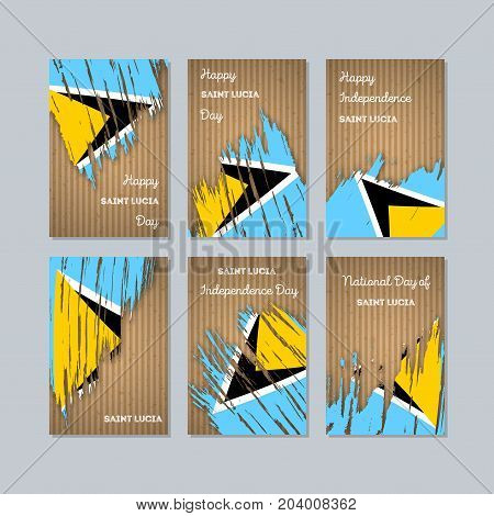 Saint Lucia Patriotic Cards For National Day. Expressive Brush Stroke In National Flag Colors On Kra
