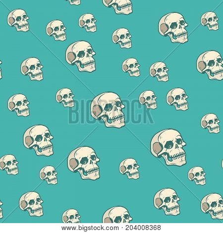 Human skull seamless pattern background, pop art retro vector illustration. Halloween holiday and Mexican day of the dead