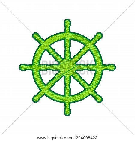 Ship wheel sign. Vector. Lemon scribble icon on white background. Isolated
