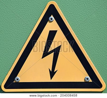 High voltage danger sign on the wall